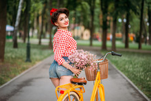 Pinup Girl On Retro Bicycle Wi...