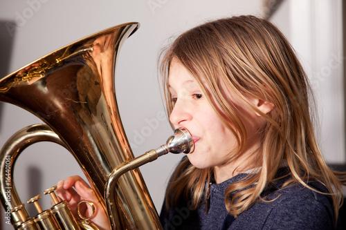 Girl playing baritone Canvas Print