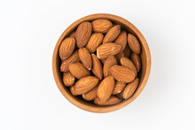 Almond In Wooden Bowl Isolated...