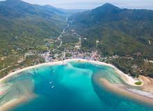 Chaloklum Bay And Malibu Beach Aerial View From The Drone, Phangan Island, Thailand