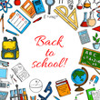 Back to School vector poster of classes supplies
