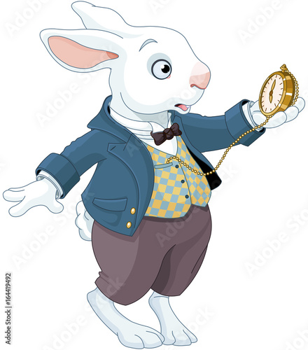Tuinposter Sprookjeswereld White Rabbit Holds Watch