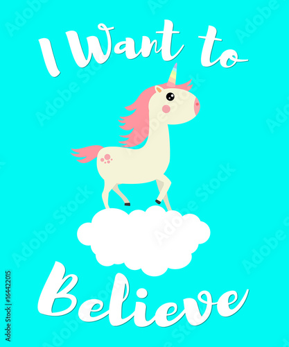 Photo Cute unicorn on a cloud