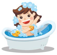 A Baby Girl Taking A Bath In B...