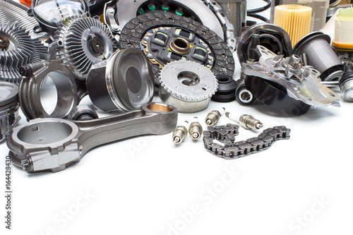 Group automobile engine parts isolated on white - Buy this stock ...