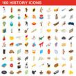 100 history icons set, isometric 3d style