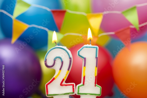 Poster  Happy Birthday number 21 celebration candle with colorful balloons and bunting