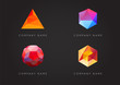 Trendy Crystal Triangulated Gem Logo Elements. Perfect for Business. Geometric Low Polygon Style. Visual Identity Vector Set Collection.