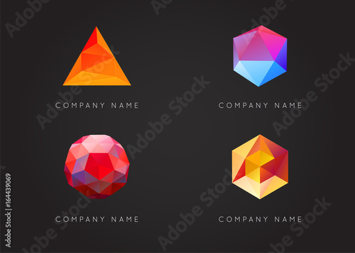 Valokuva Trendy Crystal Triangulated Gem Logo Elements