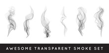 Set Of Digital Realistic Smoke Vector Illustration, Curly Smoke Flow Collection, Curved Transparent Smoke Flow Image, Grey Smoke Flow, Vertical Smoke Flow, 3D Smoke Flow Picture.