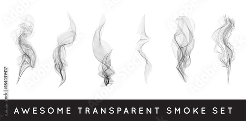 Türaufkleber Rauch Set of digital realistic smoke vector illustration, curly smoke flow collection, curved transparent smoke flow image, grey smoke flow, vertical smoke flow, 3D smoke flow picture.