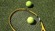 Tennis racket and ball on the grass court. Tennis and sports.