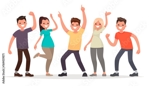 Happy group of young people. Vector illustration in a flat ...