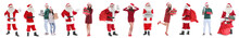 Collage Of Santa Claus And Young People On White Background