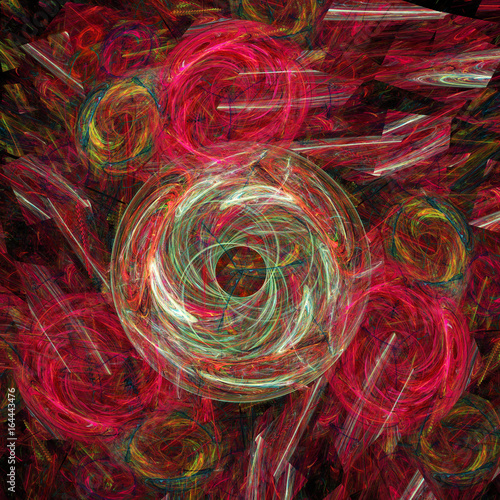 Staande foto Fractal waves abstract colored background