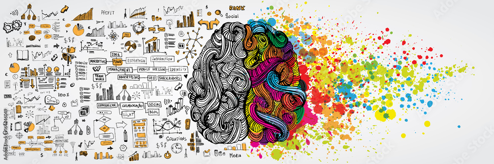 Fototapety, obrazy: Left and right human brain with social infographic on logical side. Creative half and logic half of human mind. Vector illustration aboud social communication and business work