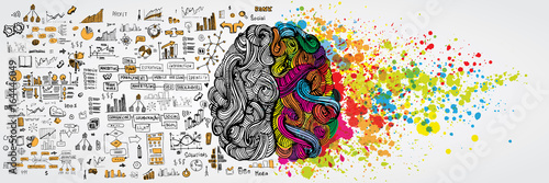 Fototapeta Left and right human brain with social infographic on logical side. Creative half and logic half of human mind. Vector illustration aboud social communication and business work obraz