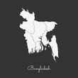 Bangladesh region map: white outline on grey background. Detailed map of Bangladesh regions. Vector illustration.