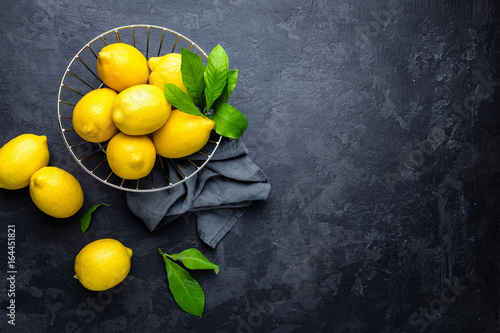 Lemon, fresh lemons with leaves