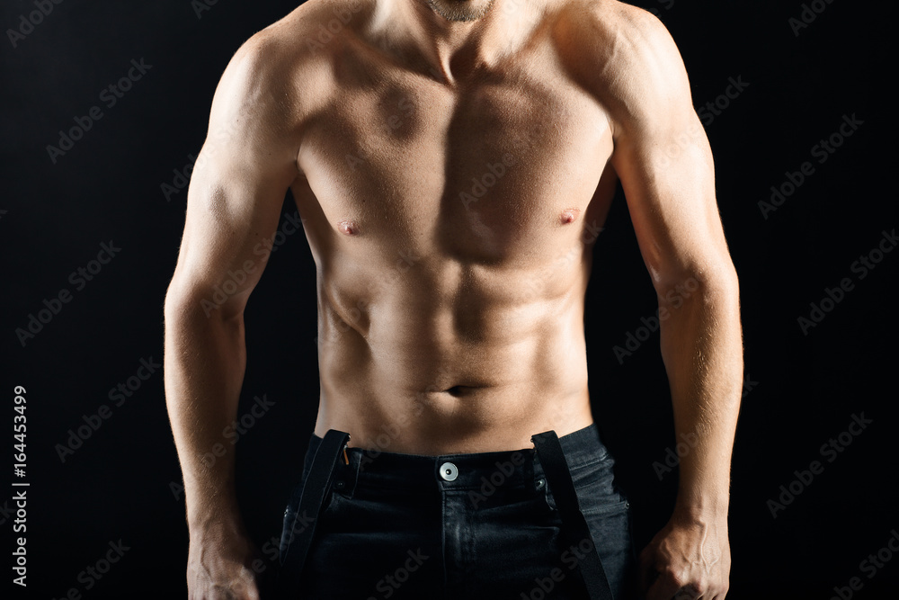 Photo Art Print Strong Muscular Torso Of Young Sexy Man