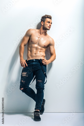 Fotografie, Obraz  Full length portrait of a sexy muscular shirtless man