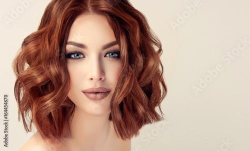 Beautiful Model Girl With Short Hair Woman With Red Curly Hair