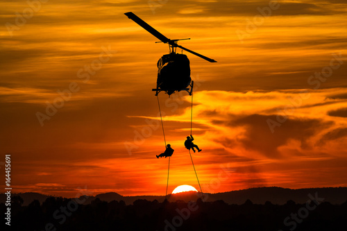 Poster Helicopter Isolated soldiers rescue helicopter operations.