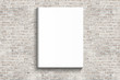canvas print picture - blank posters hanging on the brick white wall of broken painted brick, mock up