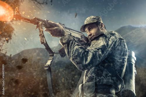 Photo  Close-up of man shooting with machine gun