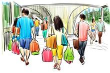 People Walking In Shopping Car...