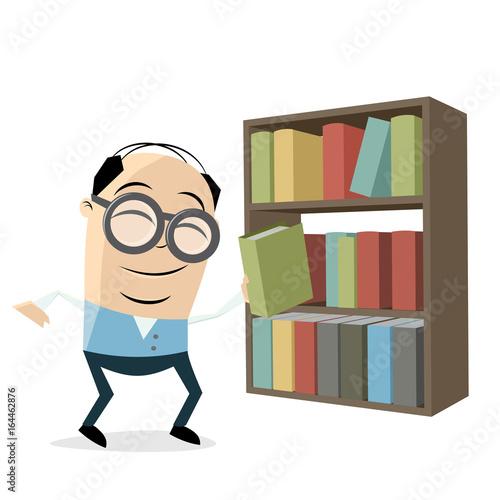 Plakat zabawna bibliotekarka z półką na książki