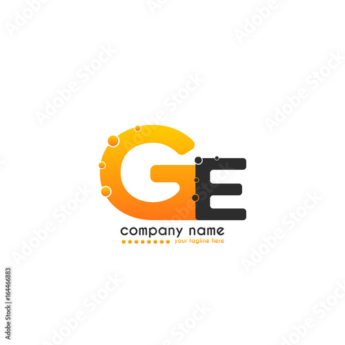 Initial Letter Ge Linked Design With Bubble In Orange Color Vector