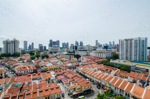 Little India, Singapore – Feb 5, 2017: Aerial view of Little India Canvas Print
