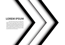 Abstract Double Black White Arrow Overlap On Gray Blank Space For Text Place Design Modern Futuristic Creative Background Vector Illustration.