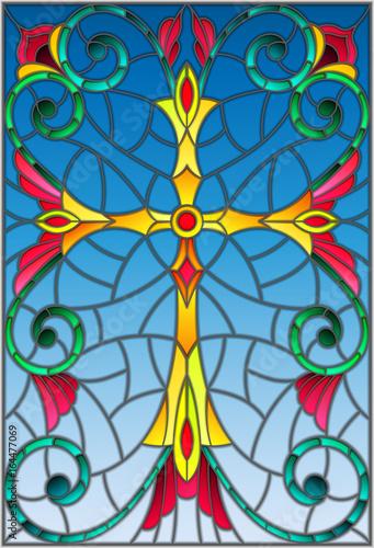 ilustracja-w-stylu-witrazu-z-zoltym-krzyzem-na-fioletowym-tle-z-wzorami-i-wiruje