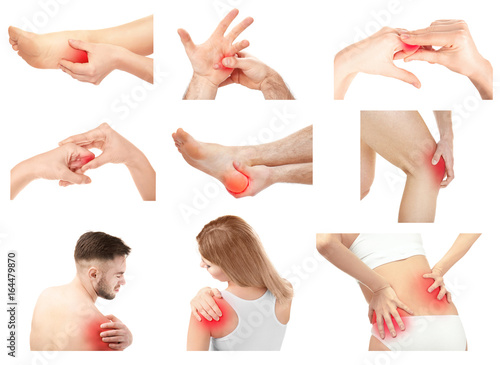 Carta da parati Collage with people suffering from pain in different parts of body on white background