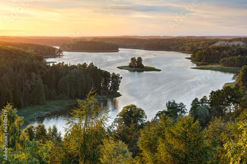Beautiful Jedzelewo Lake in summer. Stare juchy, Poland.