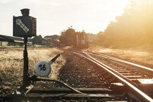 Railroad Switch With Train In ...