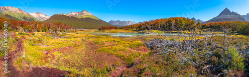 Canvas Prints Honey Gorgeous landscape of Patagonia's Tierra del Fuego National Park in Autumn, Argentina