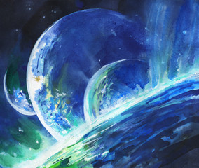 Watercolor planet in a far galaxy. Hand drawn nebula, dust, night sky, stars, cosmos. Painting astronomy illustration space abstract background