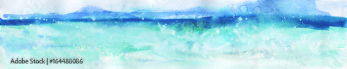 Poster Bleu clair Watercolor horizontal abstract nature background. Painting tropical ocean, wave, mountain illustration