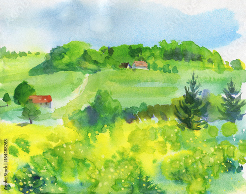 Poster Jaune Watercolor landscape with village, mountains, blue sky, green glade with dandelion. Hand drawn nature european background. Painting countryside illustration