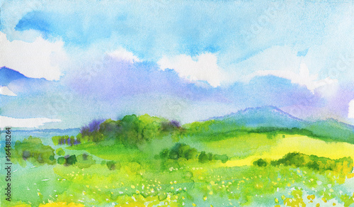 Foto op Aluminium Lime groen Watercolor landscape with mountains, blue sky, clouds, green glade with dandelion. Hand drawn nature european background. Painting countryside illustration