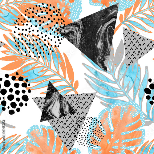 Poster Graphic Prints Abstract tropical leaves, flower with watercolor rough grunge texture, doodle elements on white background.