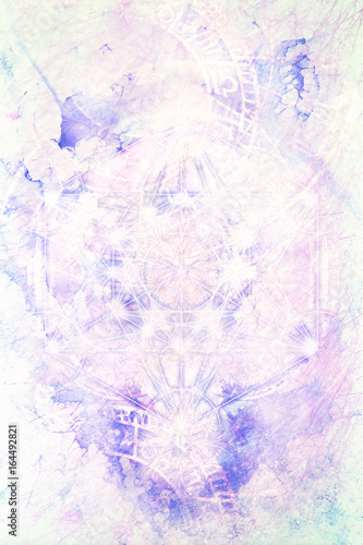 Fotomurales - Light merkaba and zodiac and marble background.