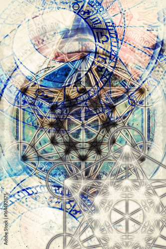 Fotobehang - Light merkaba and zodiac and abstract background. Sacred geometry.