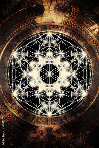 Fotobehang - Light merkaba and flower of life in cosmic space. Sacred geometry.
