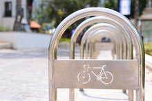 Metall Bicycle Parking Lot In The City
