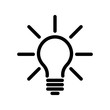 Light bulb icon. Simple black line symbol isolated on white background. Light, idea or thinking koncept. Modern vector design element.