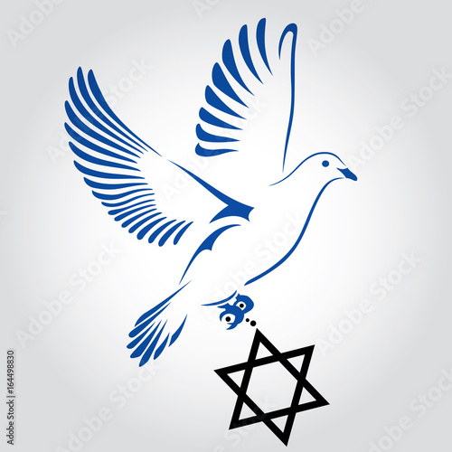 Dove Flying With A Symbol Of Religion Jewish Star Dove Of Peace